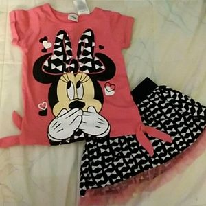 Minnie Mouse 3t matching shirt and skort